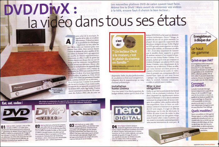"Parution du site divx-passion dans le magazine ""L'Internet Pratique"" de septembre 2005"